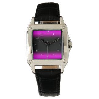 Leuchtendes Pinkish lila und schwarzes Ombre Uhr