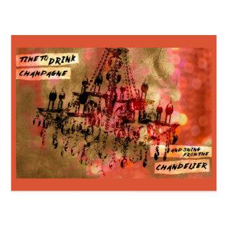 Leuchter-Champagne-Rosa Postkarte