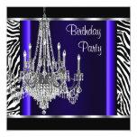 Leuchter-königliches Blauzebra-Geburtstags-Party Personalisierte Einladung