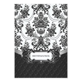 Leuchter-Schwarz-weiße Damast-Hochzeits-Einladunge Ankündigungskarten