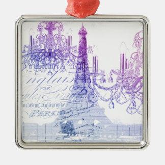 Leuchterparis Eiffel des Chic französischer lila Silbernes Ornament
