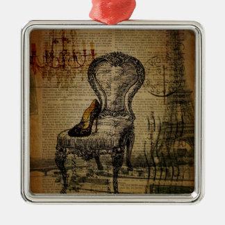 Leuchterstuhlparis-Eiffelturm Fashionista Silbernes Ornament