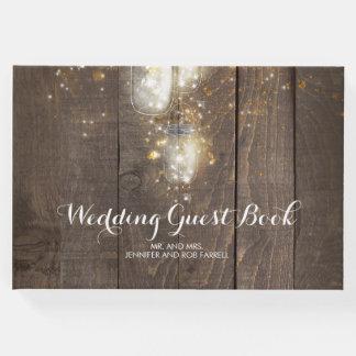 Leuchtkäfer beleuchtet Weckglas-rustikale Hochzeit Gästebuch