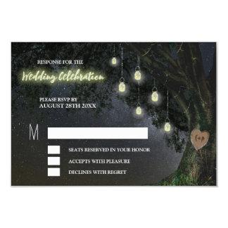 Leuchtkäfer-Maurer-Glas-Eichen-Baum-Hochzeit UAWG Karte