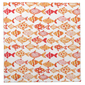 Leuchtorange-Aquarell-Fisch-Muster Serviette