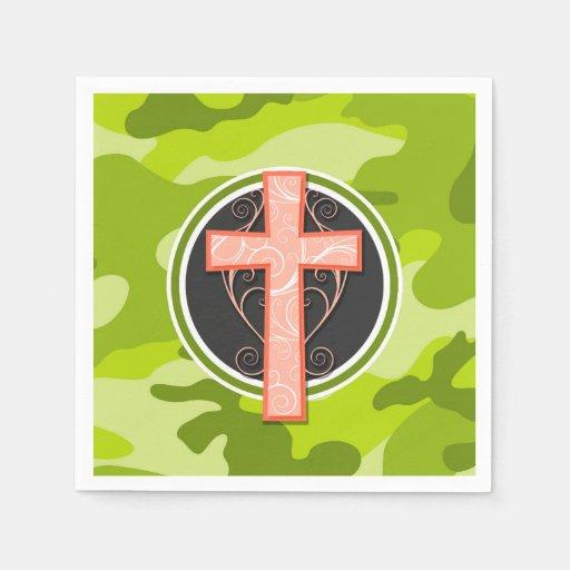 Leuchtorange-Kreuz; grüne Camouflage, Tarnung Papierserviette