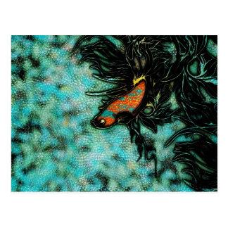 Leuchtorange und blaue Betafische Postkarte