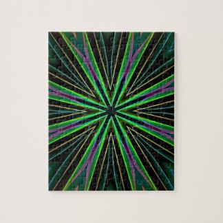 Leuchtstoff grüne Lavendel-Stern-Neonexplosion Puzzle