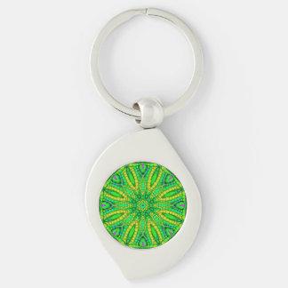 Leuchtstoff grünes abstraktes silberfarbener wirbel schlüsselanhänger