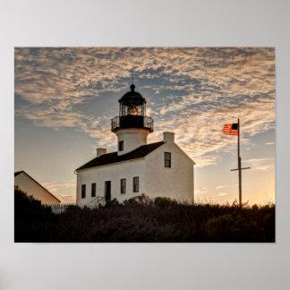 Leuchtturm am Sonnenuntergang, Kalifornien Poster