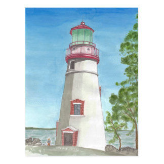 Leuchtturm-Aquarell-Postkarte Postkarten