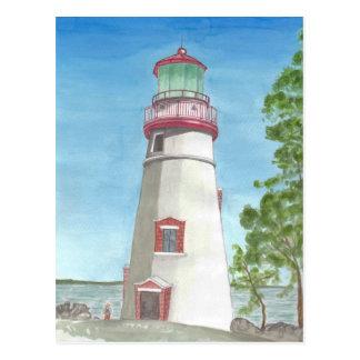Leuchtturm-Aquarell-Postkarte Postkarte