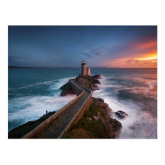 Leuchtturm-Sonnenuntergang Plouzané | Finistère, Postkarte