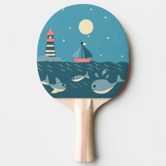 Leuchtturm und Schiff Tischtennis Schläger