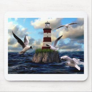 Leuchtturm-Vogel-Fliegen Mousepad