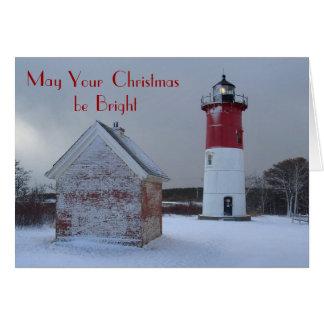 Leuchtturm-Weihnachtskarte Mitteilungskarte