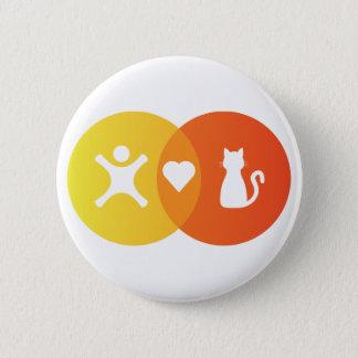 Leute-Herz-Katzen Venn Diagramm Runder Button 5,7 Cm