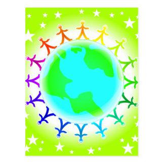 Leute vereinigt auf Weltkugel Postkarte
