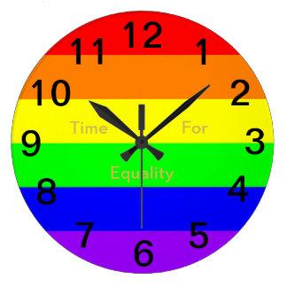 LGBT Gay Pride-Regenbogen-Flagge! Zeit für Große Wanduhr