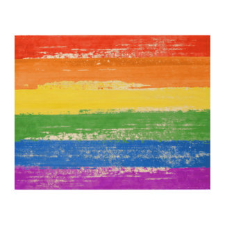 LGBT REGENBOGEN-FLAGGEN-FARBE HOLZWANDDEKO