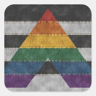 LGBT Verbündet-Denim-Flagge Quadratischer Aufkleber