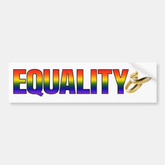 LGBTQ Regenbogen-Heirat-Gleichheits-Goldringe Autoaufkleber