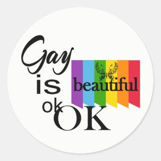 LGBTQIA Stolz-Homosexuelles ist schönes ok.OK. Runder Aufkleber