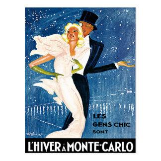 L'Hiver Monte Carlo Monaco Vintage Reise Postkarte