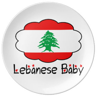 Libanesische Flaggen-Melamin-Porzellan-Platte für Teller Aus Porzellan