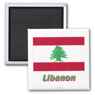 Libanon Flagge MIT Namen Quadratischer Magnet