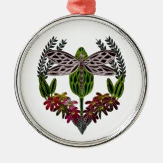 Libelle 1 rundes silberfarbenes ornament