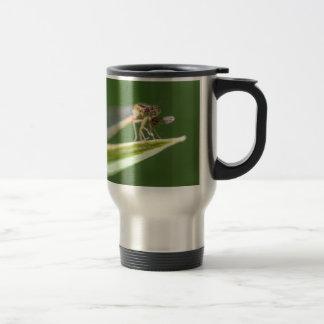 Libelle, die Moskito isst Reisebecher