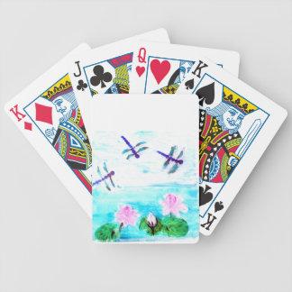 Libelle, Lilien-Blumen-Teich-Malerei Bicycle Spielkarten