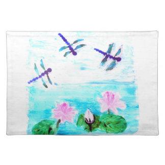 Libelle, Lilien-Blumen-Teich-Malerei Tischset