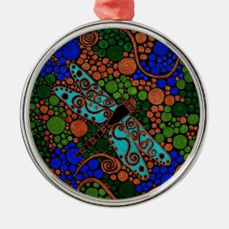 Libelle Rundes Silberfarbenes Ornament