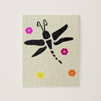 Libelle und Blumen Puzzle