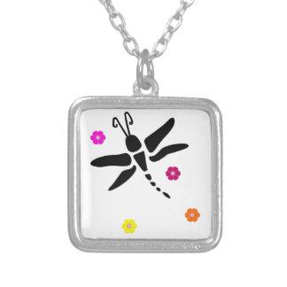 Libelle und Blumen Versilberte Kette