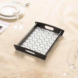 Libelle - weißes kleines Serviertablett, schwarz Tablett
