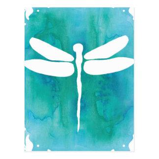 Libellen-Aquarell-weiße Aqua-Blau-Libellen Postkarte