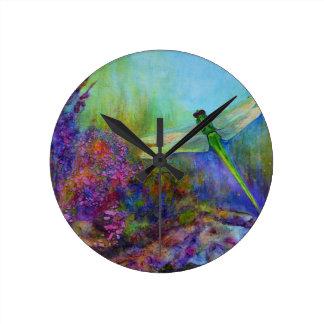 Libellen-Blumen-Garten-Kunst-bunte Uhr