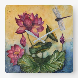 Libellen-BlumenAquarell-Kunst-Wanduhr Quadratische Wanduhr