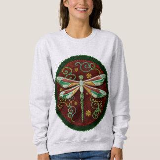 Libellen-elegante Jeweled Volkskunst 2 Sweatshirt