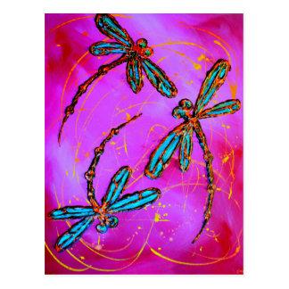 Libellen-Flitzen-elektrisches Rosa Postkarte