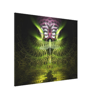 Libellen-Fraktal-Magie eingewickelte Leinwand Leinwanddruck