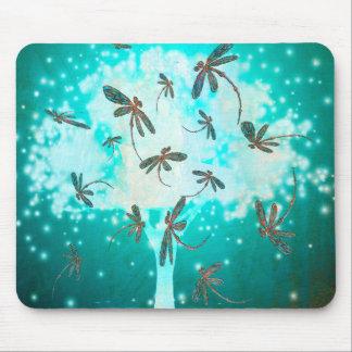 Libellen-Glühen-Baum Mauspad