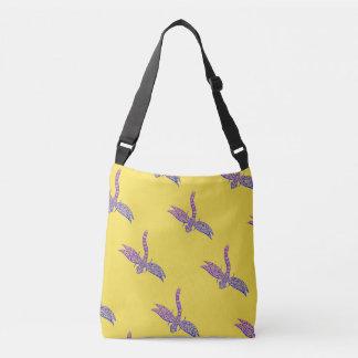 Libellen-Querkörper-Tasche (Gelb u. Lila) Tragetaschen Mit Langen Trägern