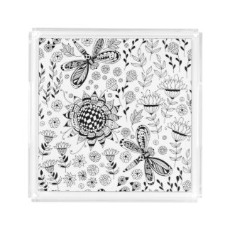 Libellen und Blumen Acryl Tablett