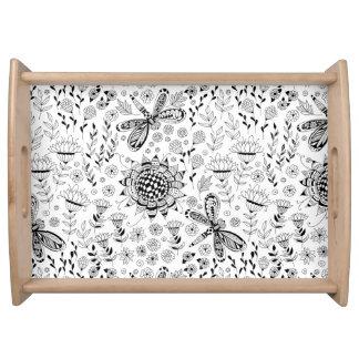 Libellen und Blumen Serviertablett