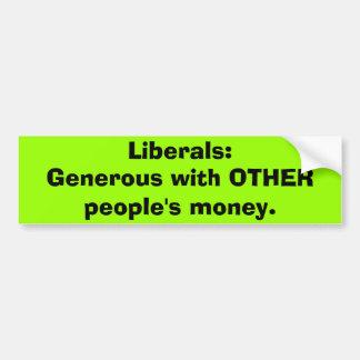 Liberale großzügige andere Geld Autoaufkleber