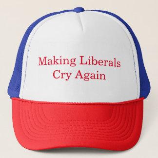 Liberale machend, schreien Sie wieder Truckerkappe